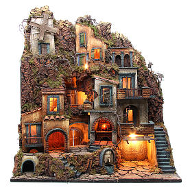 Illuminated village with mill, oven and fountain for Neapolitan Nativity 80x70x40cm s1