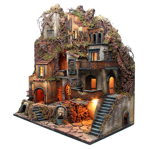 Illuminated village with mill, oven and fountain for Neapolitan Nativity 80x70x40cm 2