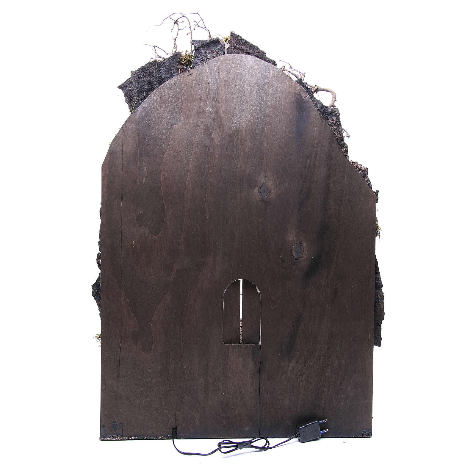 Borghetto presepe Napoli 75x50x50 cm illuminato 4