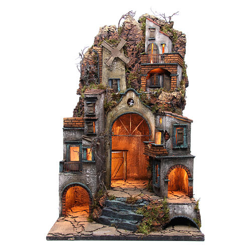 Illuminated village for Neapolitan Nativity with windmill 90x50x50cm 1