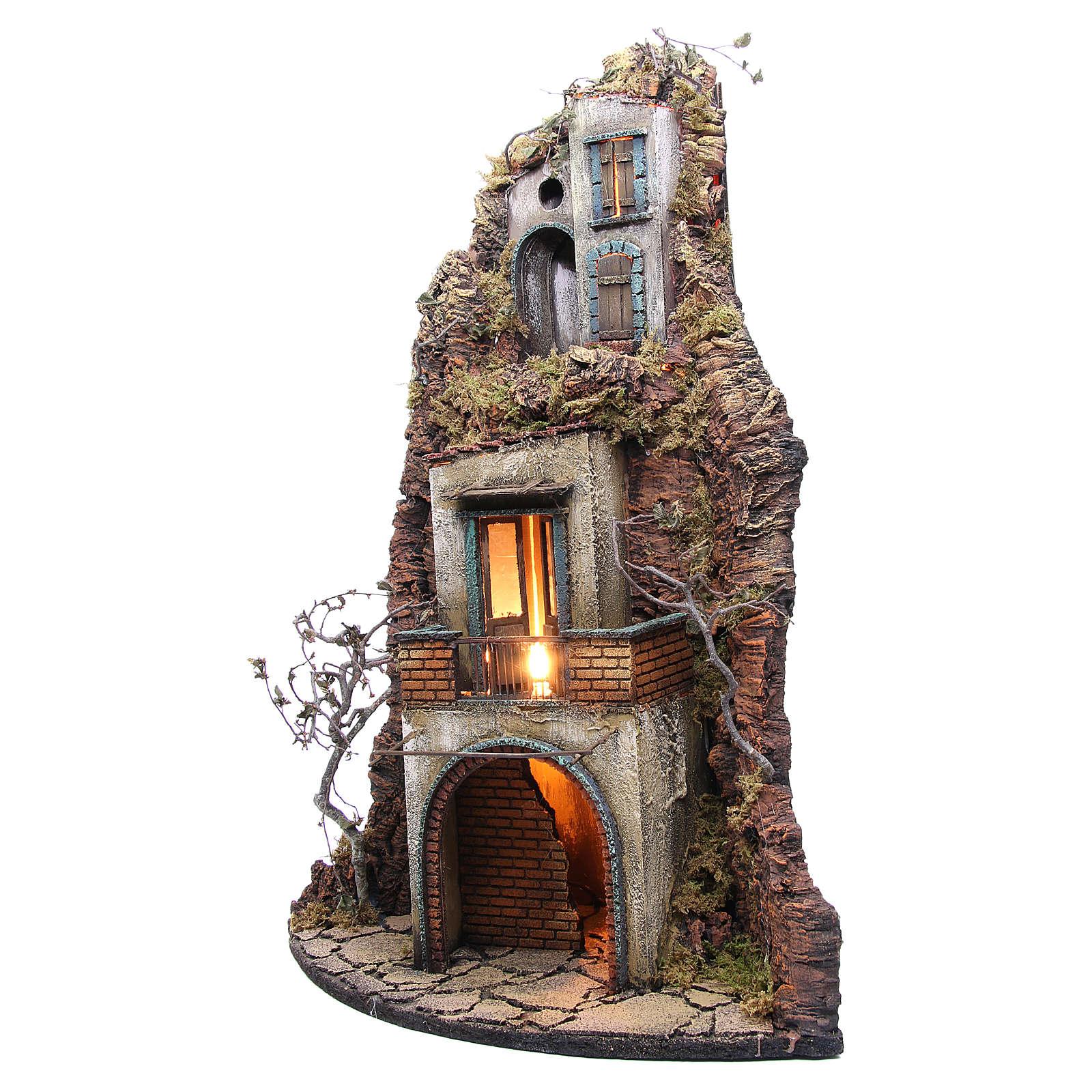 Borgo presepe napoletano 74x40x36 fontana e luce 4
