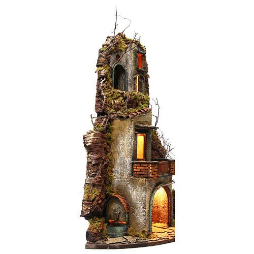 Borgo presepe napoletano 74x40x36 fontana e luce 3