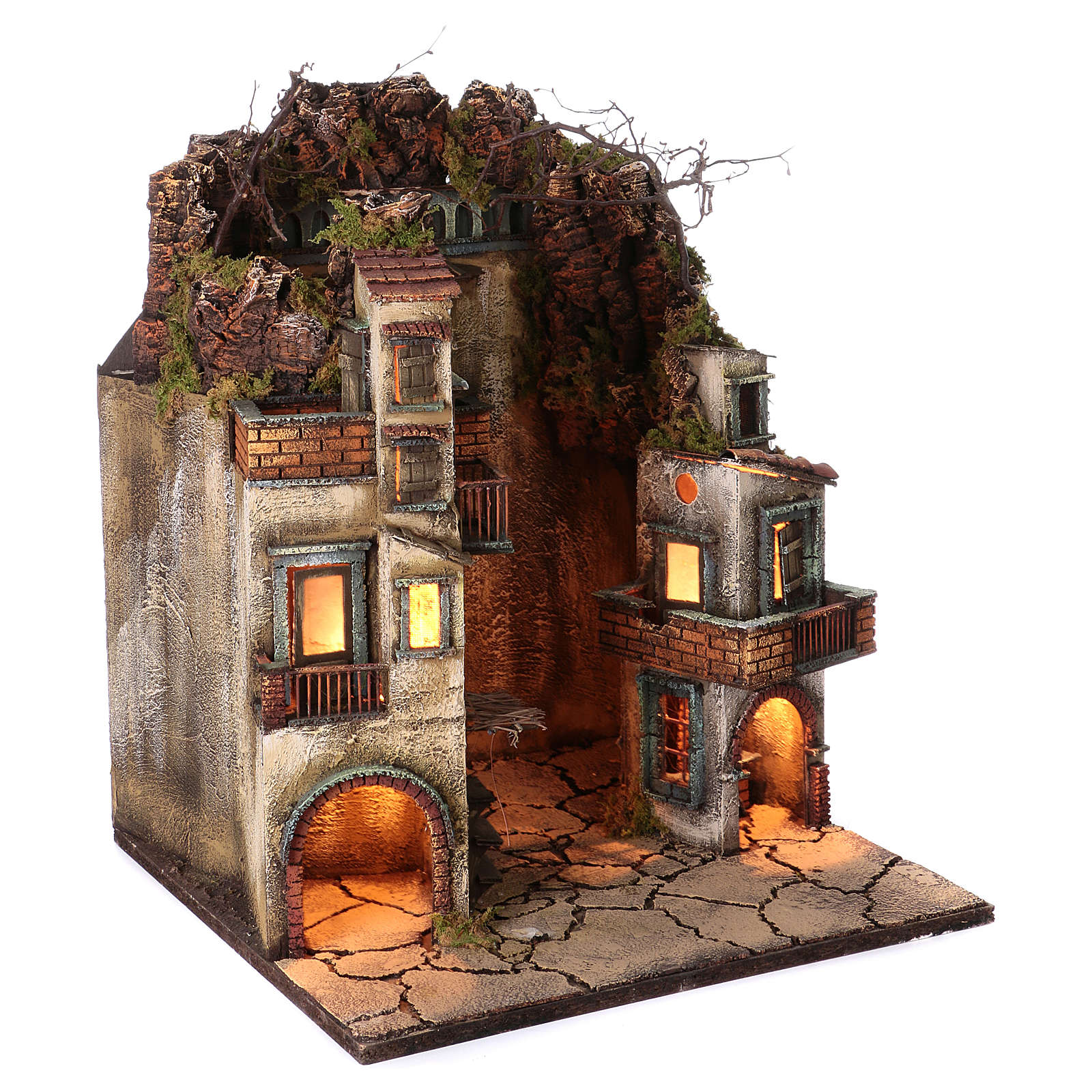 Village for Neapolitan Nativity, illuminated and with stable 65x40x40cm 4