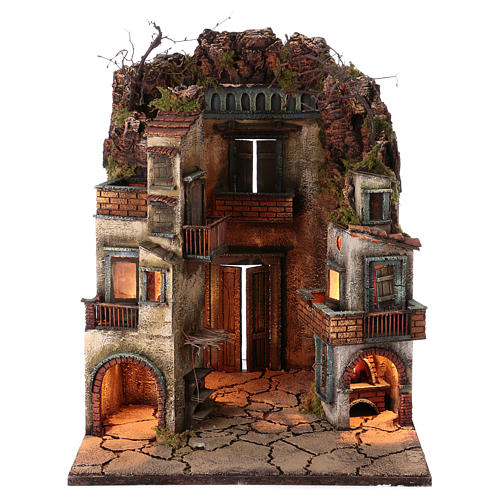 Village for Neapolitan Nativity, illuminated and with stable 65x40x40cm 1