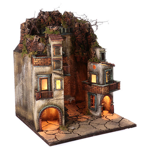 Village for Neapolitan Nativity, illuminated and with stable 65x40x40cm 3