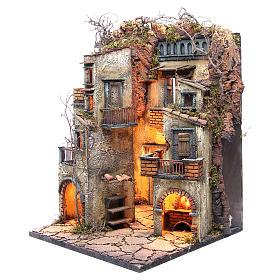 Borgo presepe napoletano con stalla illuminato 65x40x40 s2