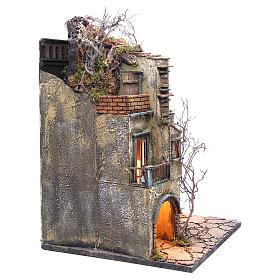 Borgo presepe napoletano con stalla illuminato 65x40x40 s3