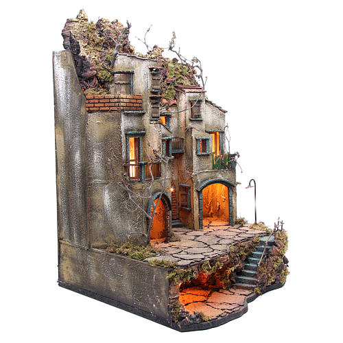 Pueblo con cabaña Belén Napolitano 74x50x50 cm 3