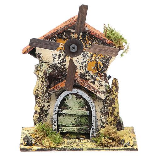 Moulin à vent 16x13x8,5 cm pale bois crèche Naples 1