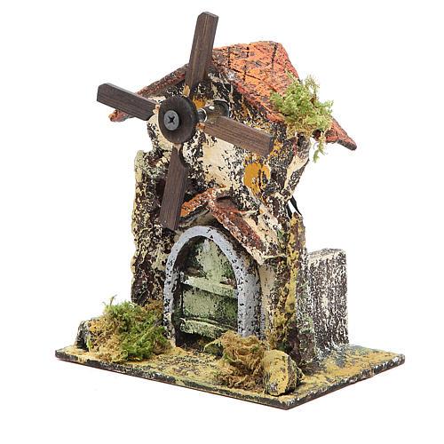 Moulin à vent 16x13x8,5 cm pale bois crèche Naples 2
