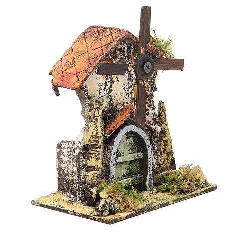 Moulin à vent 16x13x8,5 cm pale bois crèche Naples 3
