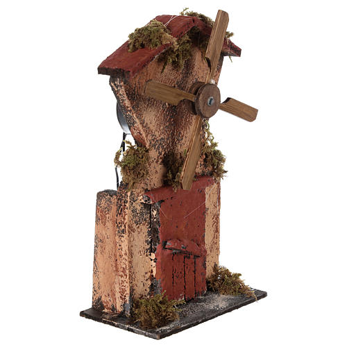 Wooden windmill for Neapolitan Nativity measuring 20x10x6 cm 3