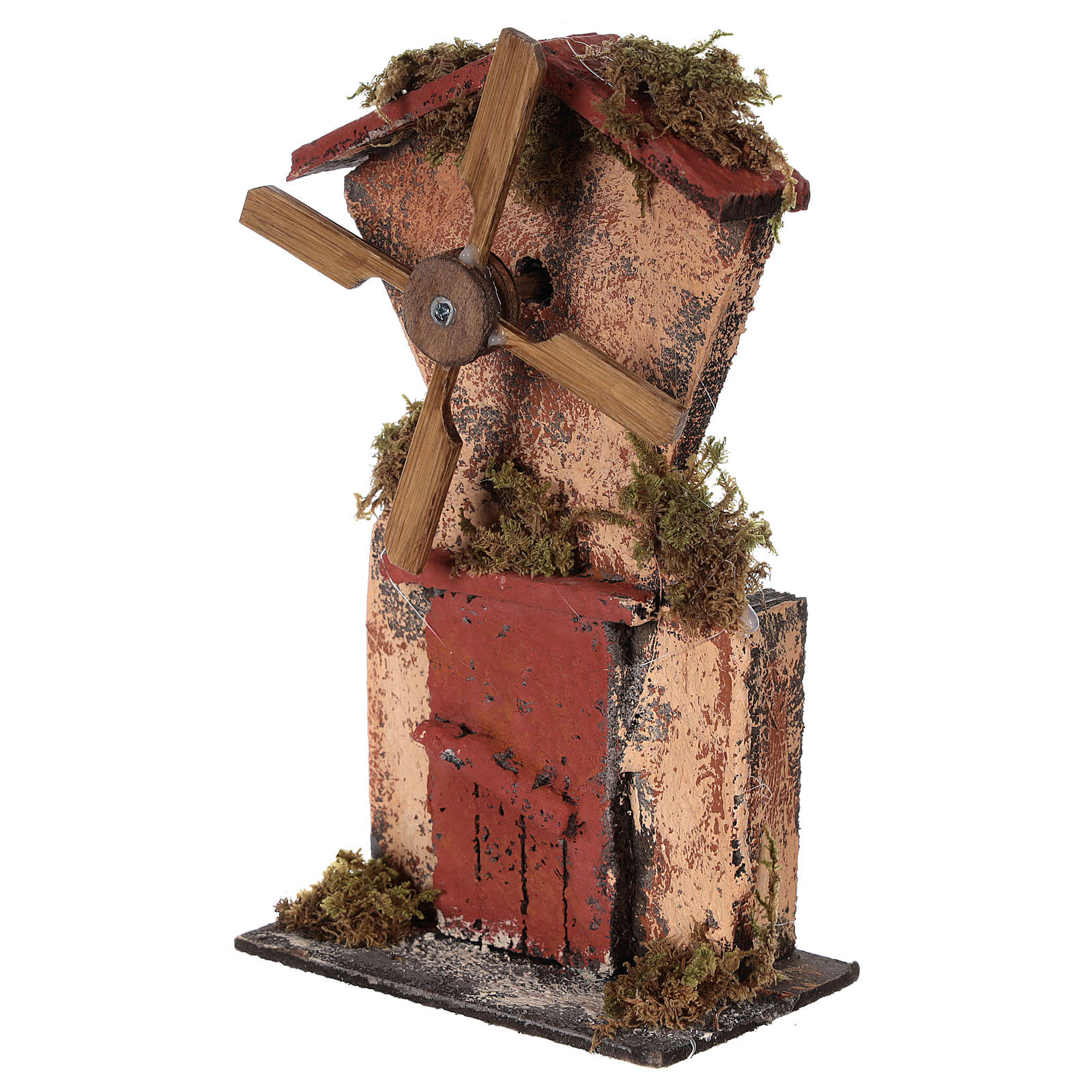 Wooden windmill for Neapolitan Nativity measuring 20x10x6 cm 4