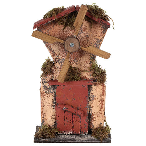 Wooden windmill for Neapolitan Nativity measuring 20x10x6 cm 1