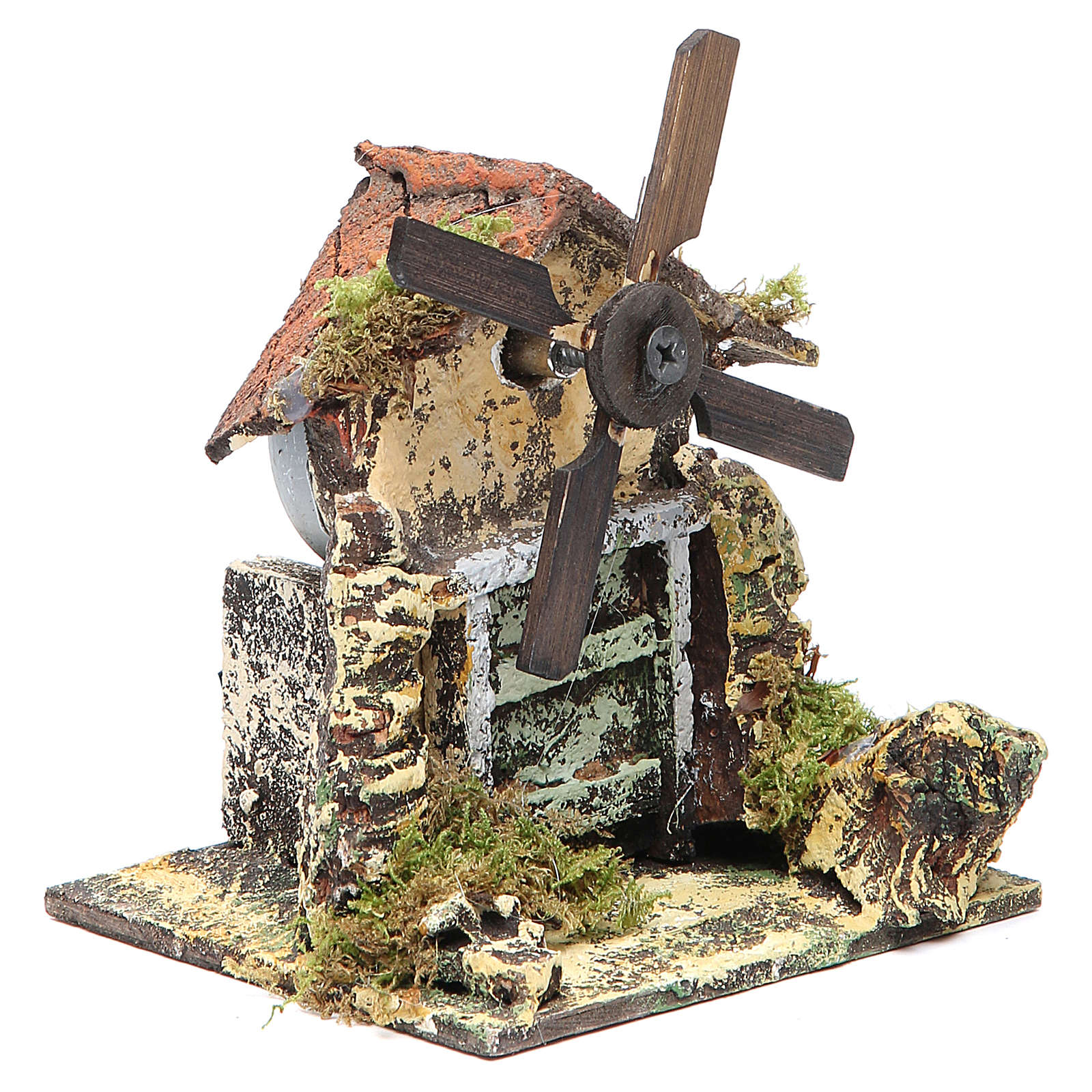 Wooden windmill for Neapolitan Nativity measuring 13x10.5x10cm 4