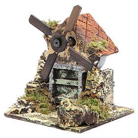 Moulin à vent 13x10,5x10 cm pale en bois crèche Naples s2