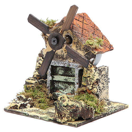 Moulin à vent 13x10,5x10 cm pale en bois crèche Naples 2