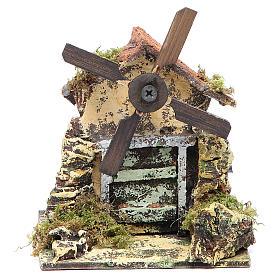 Mulino a vento 13x10,5x10 cm pala legno presepe Napoli s1