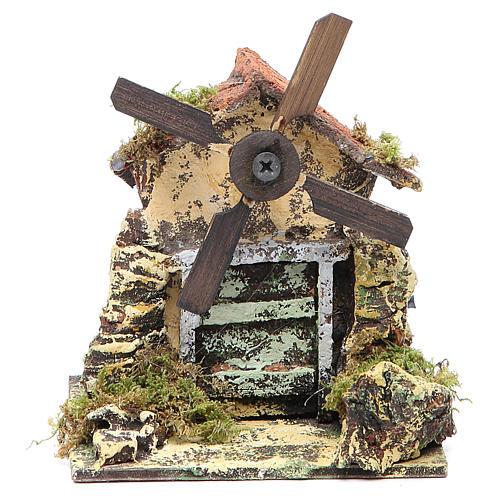 Mulino a vento 13x10,5x10 cm pala legno presepe Napoli 1