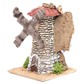 Wind mill for nativities in terracotta measuring 20x13x13cm s2