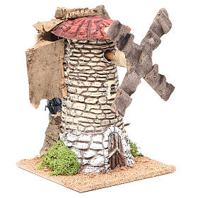 Wind mill for nativities in terracotta measuring 20x13x13cm s3