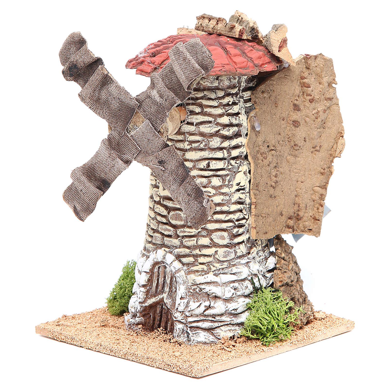 Moulin à vent crèche en terre cuite 20x13x13 cm 4
