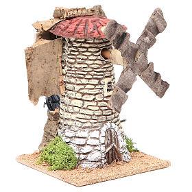 Moulin à vent crèche en terre cuite 20x13x13 cm s3