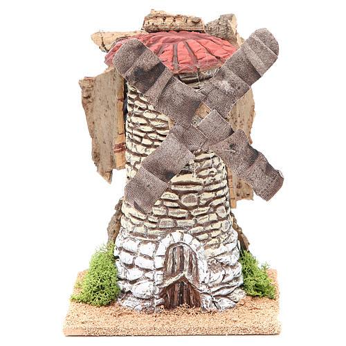 Moulin à vent crèche en terre cuite 20x13x13 cm 1