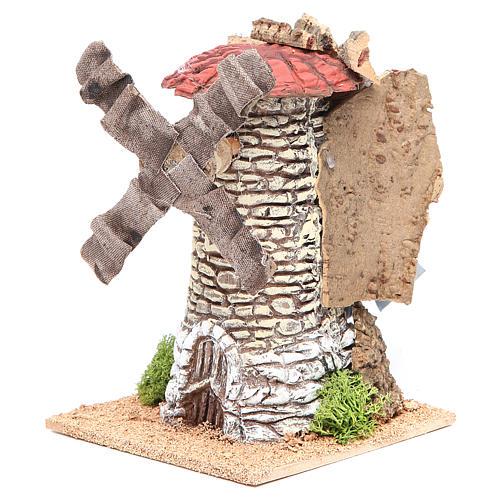 Moulin à vent crèche en terre cuite 20x13x13 cm 2