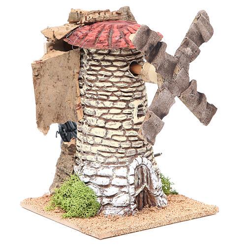 Moulin à vent crèche en terre cuite 20x13x13 cm 3