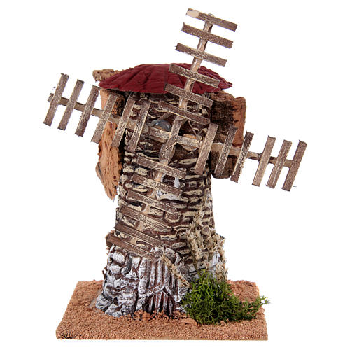 Mulino a vento terracotta 20x25x25 cm presepe 1