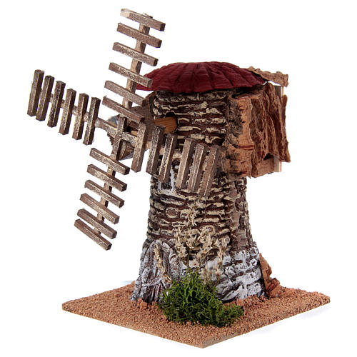 Mulino a vento terracotta 20x25x25 cm presepe 2
