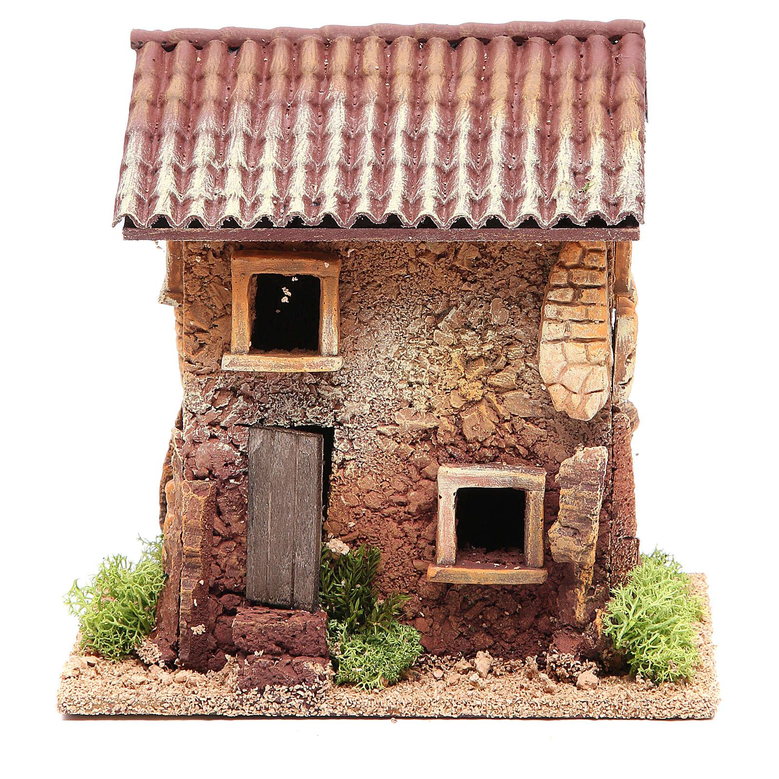 Casa presepe sughero 18x18x13 cm 4