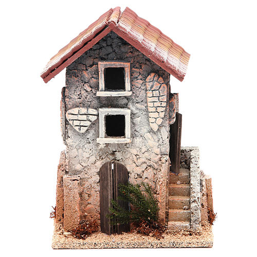 Maison en liège 21x15x12 cm crèche 1