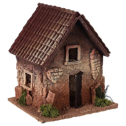 Maisonnette rurale en liège 18x15x13 cm crèche 3