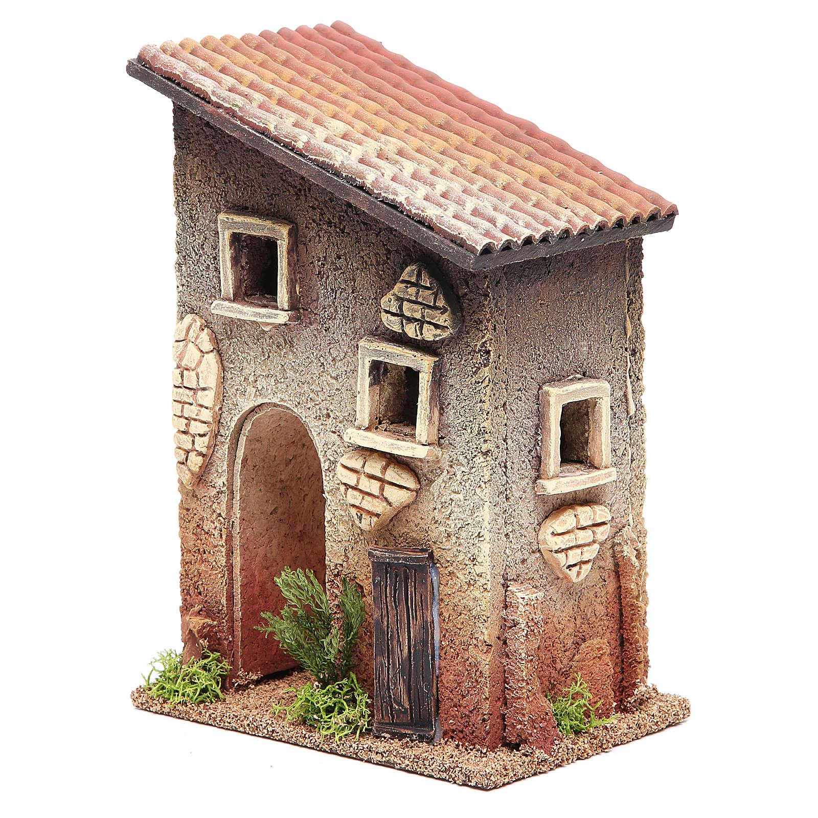 Casetta rurale in sughero 18x15x13 cm presepe 4