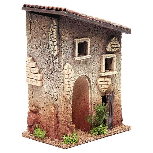 Casetta rurale in sughero 18x15x13 cm presepe 3