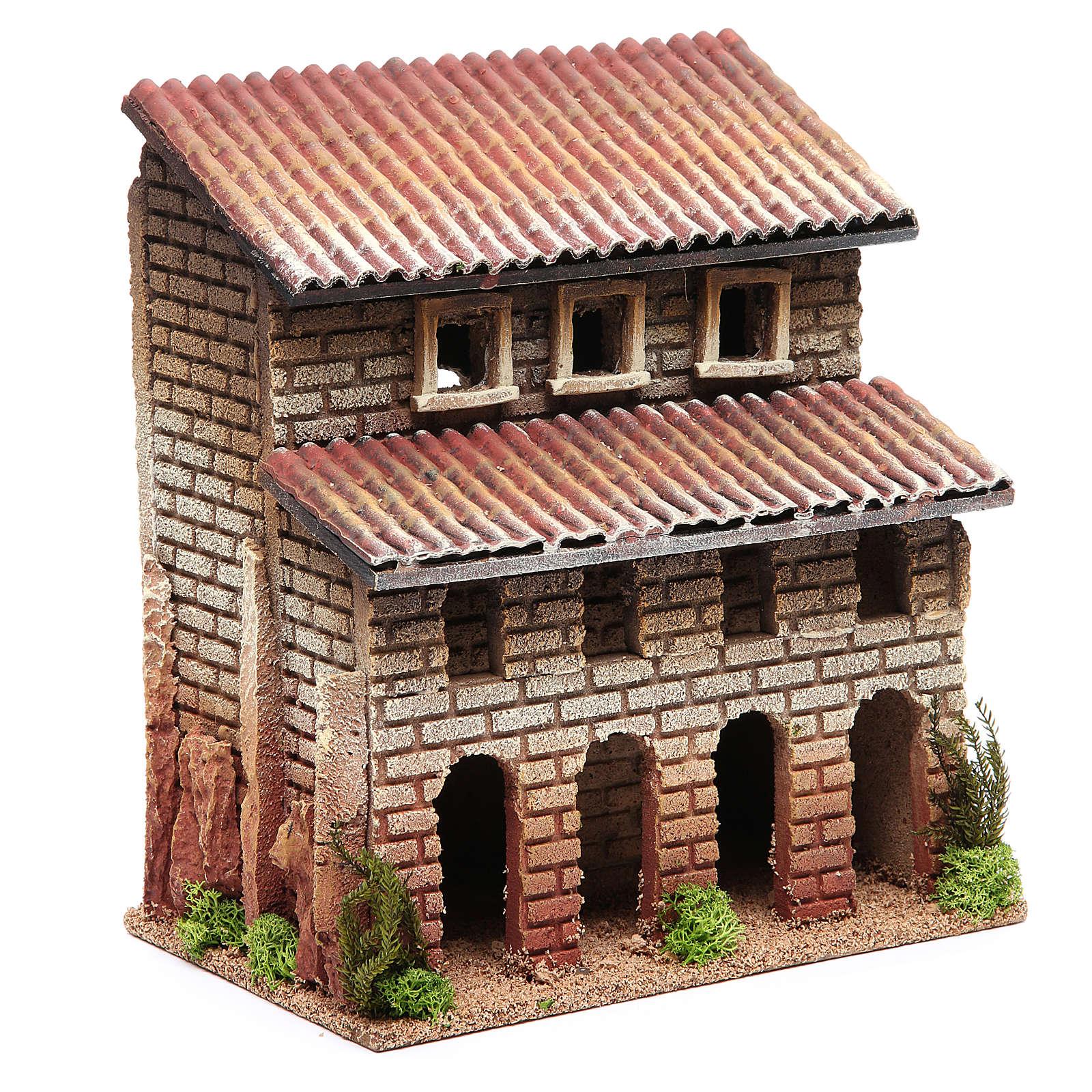 Maison avec porche en liège pour crèche 24x22x14 cm 4