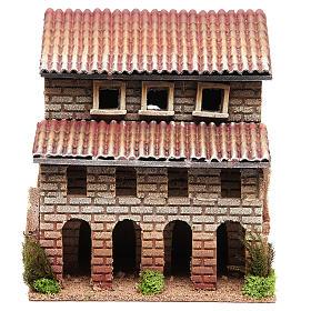 Maison avec porche en liège pour crèche 24x22x14 cm s1