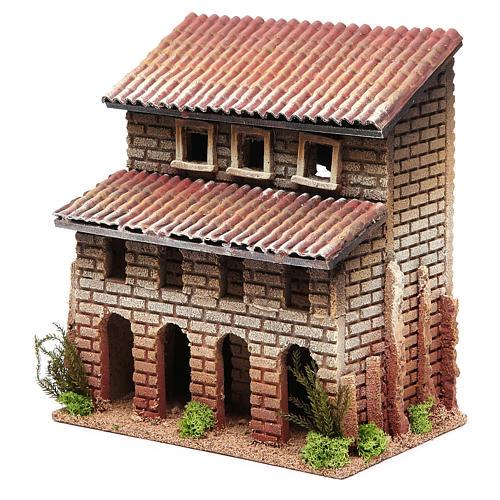 Maison avec porche en liège pour crèche 24x22x14 cm 2