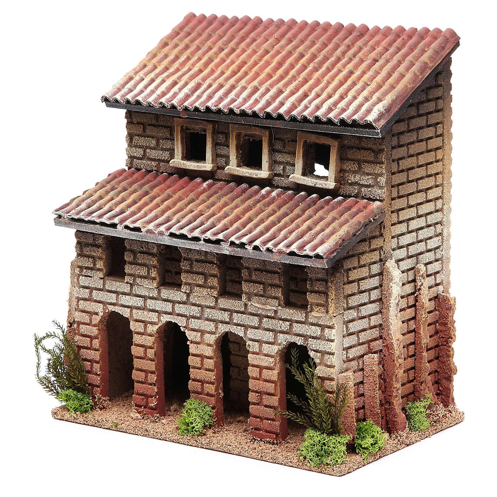 Casa con porticato in sughero per presepe 24x22x14 4