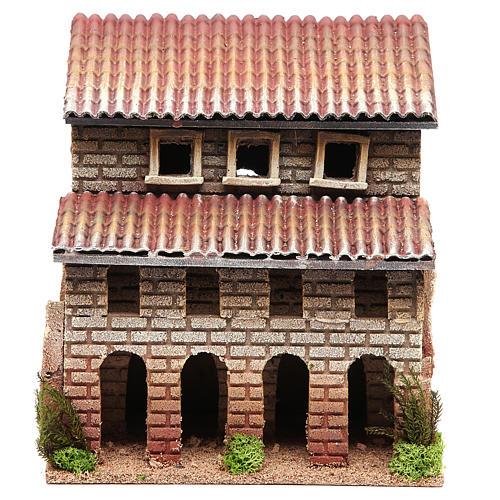 Casa con porticato in sughero per presepe 24x22x14 1