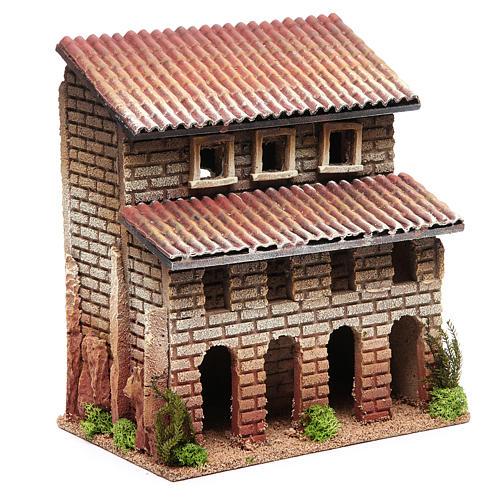 Casa con porticato in sughero per presepe 24x22x14 3