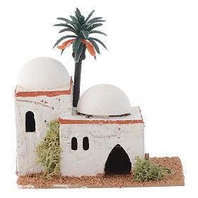 Settings, houses, workshops, wells: Arabian style house with palm measuring 12x7x13cm