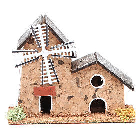 Watermills and windmills: Mill in cork for nativities measuring 12x5x10cm, assorted models