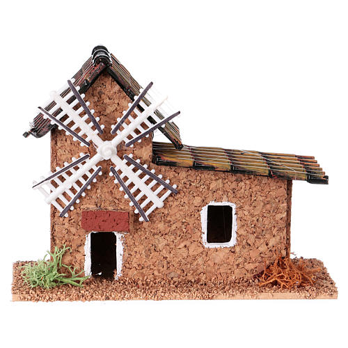 Mill in cork for nativities measuring 12x5x10cm, assorted models 3