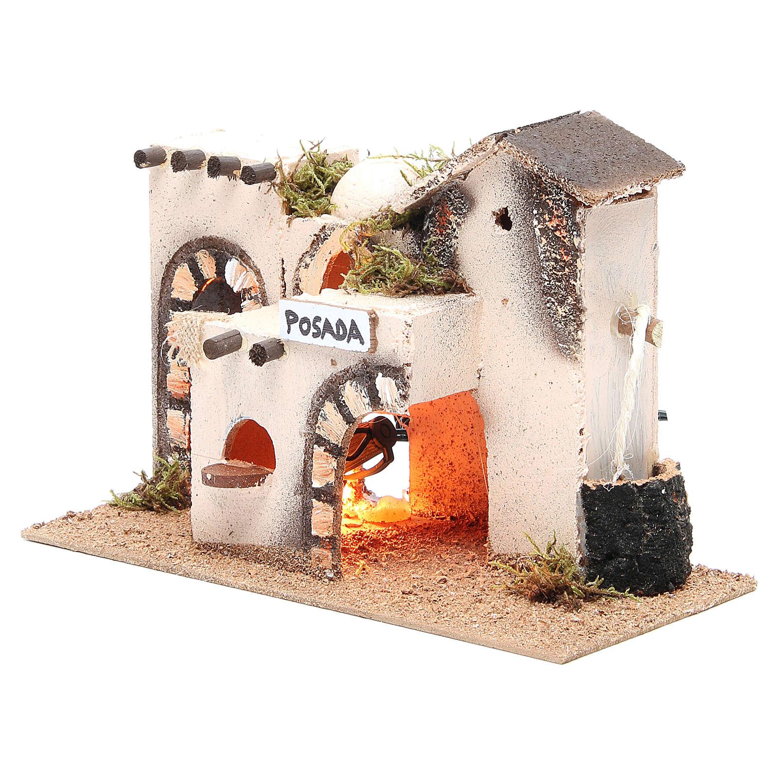Nativity accessory, inn in cork with light measuring 27x12x18cm 4