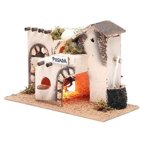 Nativity accessory, inn in cork with light measuring 27x12x18cm 2