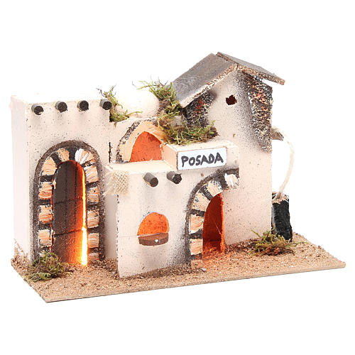 Nativity accessory, inn in cork with light measuring 27x12x18cm 3