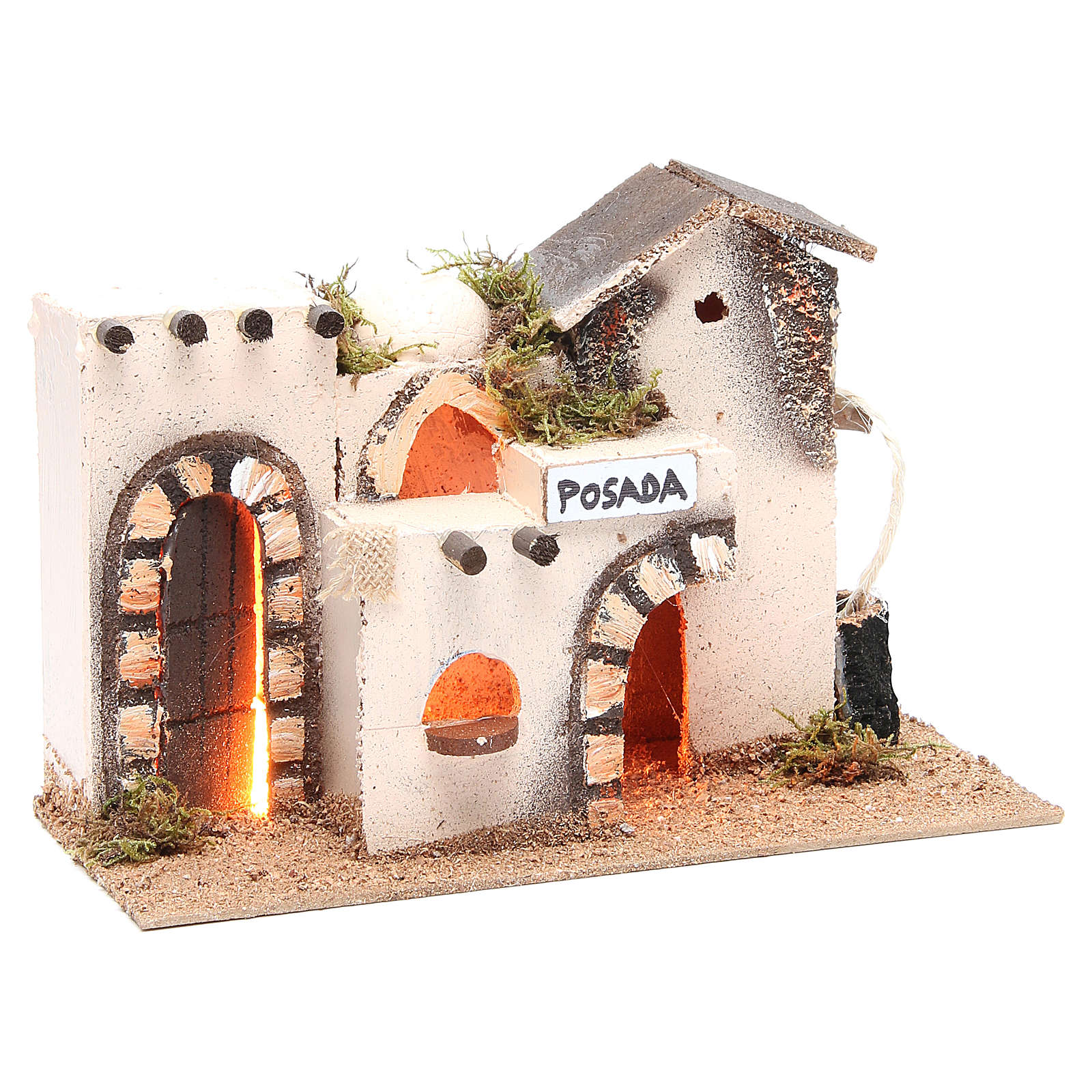 Nativity accessory, inn in cork with light measuring 27x12x18cm 4
